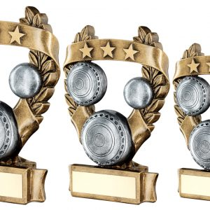 BRZ/PEW/GOLD LAWN BOWLS 3 STAR WREATH AWARD TROPHY
