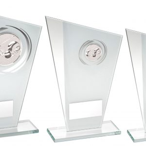 WHITE/SILVER PRINTED GLASS PLAQUE WITH LAWN BOWLS INSERT TROPHY