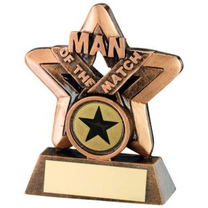 BRZ/GOLD MAN OF THE MATCH MINI STAR TROPHY –  (1in CENTRE) 3.75in