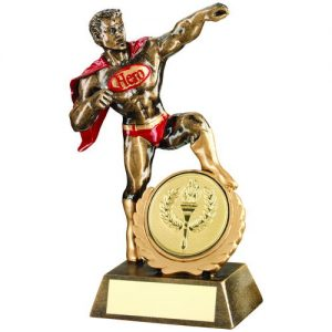 BRZ/GOLD/RED RESIN GENERIC 'HERO' TROPHY – (2in CENTRE) 7.25in