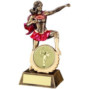 BRZ/GOLD/RED GENERIC FEMALE 'HERO' TROPHY –     (2in CENTRE) 7.5in