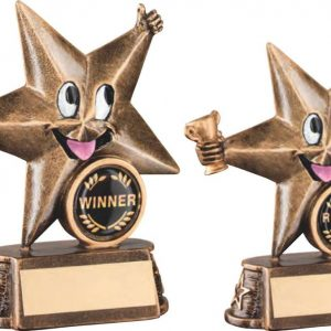 BRZ/GOLD RESIN GENERIC 'COMIC STAR' FIGURE TROPHY