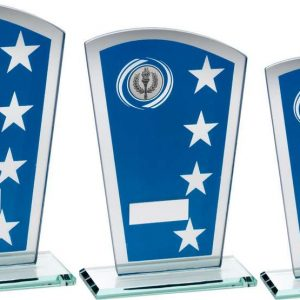 BLUE/SILV PRINTED GLASS SHIELD WITH WREATH/STAR DESIGN TROPHY