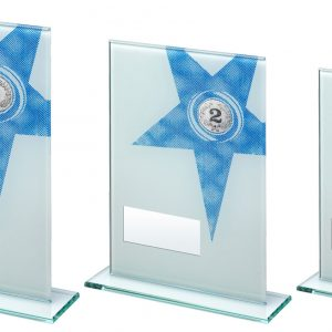 WHITE/BLUE PRINTED GLASS RECTANGLE WITH LARGE STAR TROPHY