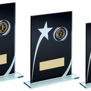 BLK/WHITE PRINTED GLASS PLAQUE WITH SHOOTING STAR TROPHY