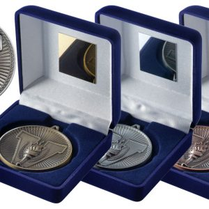 BLUE VELVET BOX AND 60mm MEDAL VICTORY TORCH TROPHY