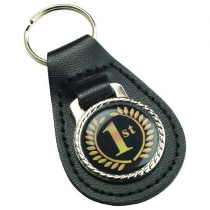 BLACK LEATHER KEY FOB – (1in CENTRE) 2.5in