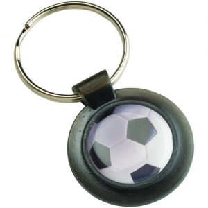 ROUND KEYRING – BLACK (1in CENTRE) 1.5in