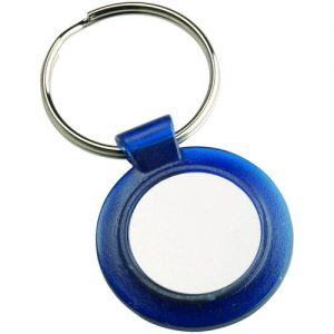 ROUND KEYRING – BLUE (1in CENTRE) 1.5in