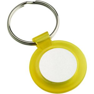 ROUND KEYRING – YELLOW (1in CENTRE) 1.5in