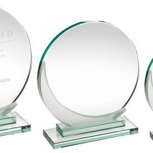 JADE GLASS ROUND PLAQUE WITH FROSTED ACCENT