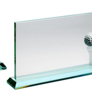JADE GLASS RECTANGLE WITH GOLF BALL AND FROSTED TEE