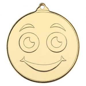 SMILEY FACE GOLD MEDAL – 2in