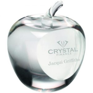CLEAR GLASS 'APPLE' PAPERWEIGHT WITH PRESENTATION CASE – 3.5in