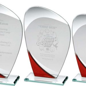 JADE GLASS CURVED PLAQUE WITH RED/SILVER DETAIL