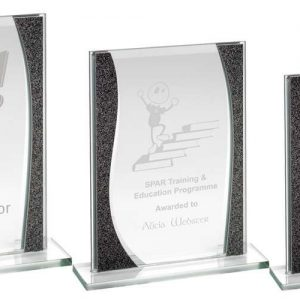 JADE GLASS RECTANGLE PLAQUE WITH SILVER HIGHLIGHTS