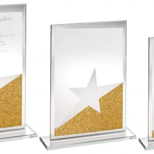 JADE GLASS RECTANGLE PLAQUE WITH GOLD/SILVER GLITTER DETAIL