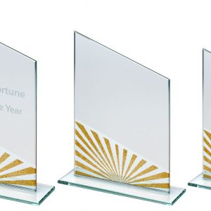 JADE GLASS ANGLED PLAQUE WITH GOLD/SILVER GLITTER DETAIL
