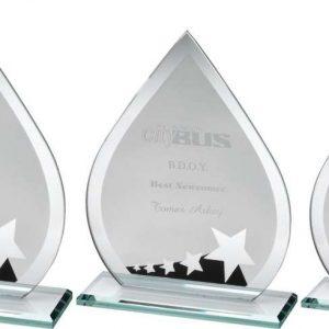 JADE GLASS TEARDROP WITH SILVER/BLACK STAR DESIGN