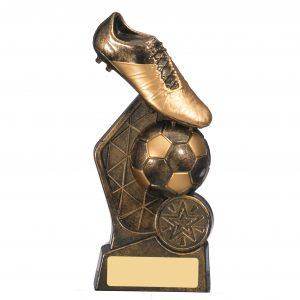 Hex Bronze & Gold Football Boot Trophy