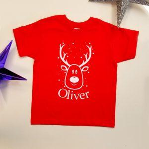 Personalised 'Reindeer & Name' T-Shirt