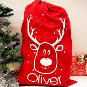 Christmas 'Reindeer & Name' Red Present Sack