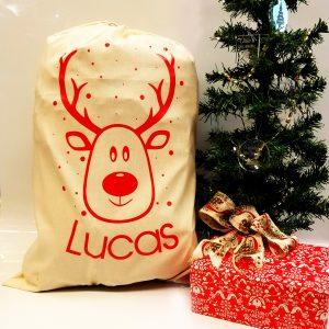 Christmas 'Reindeer & Name' Natural Present Sack