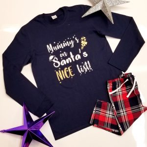 '……..'s on the Nice List' Navy & Red Christmas Pyjamas