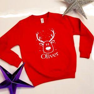'Reindeer & Name' Christmas Sweatshirt