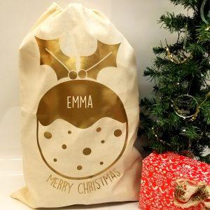 'Christmas Pudding & Name' Natural Present Sack